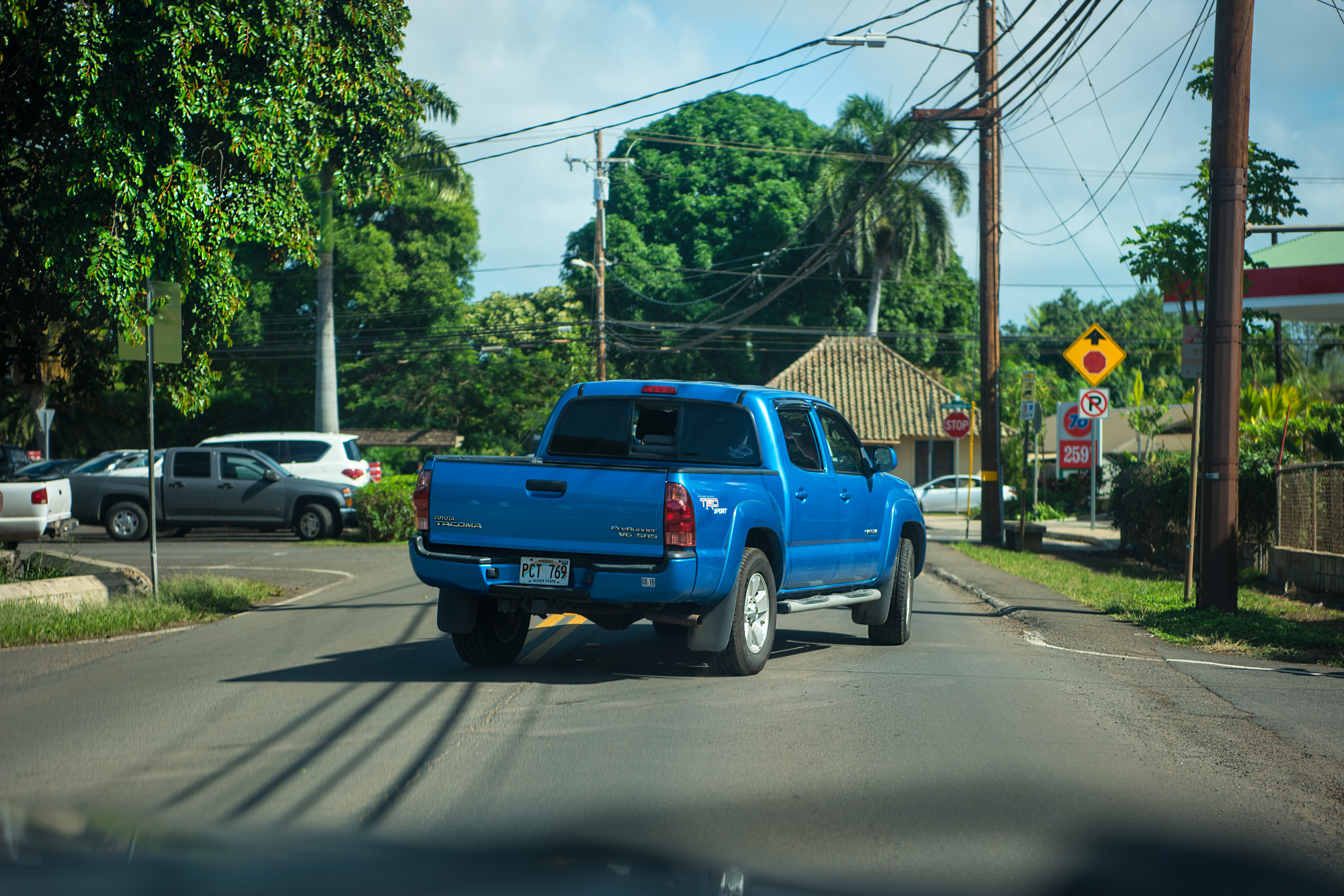 Scene of Haleiwa, Blue Pickup