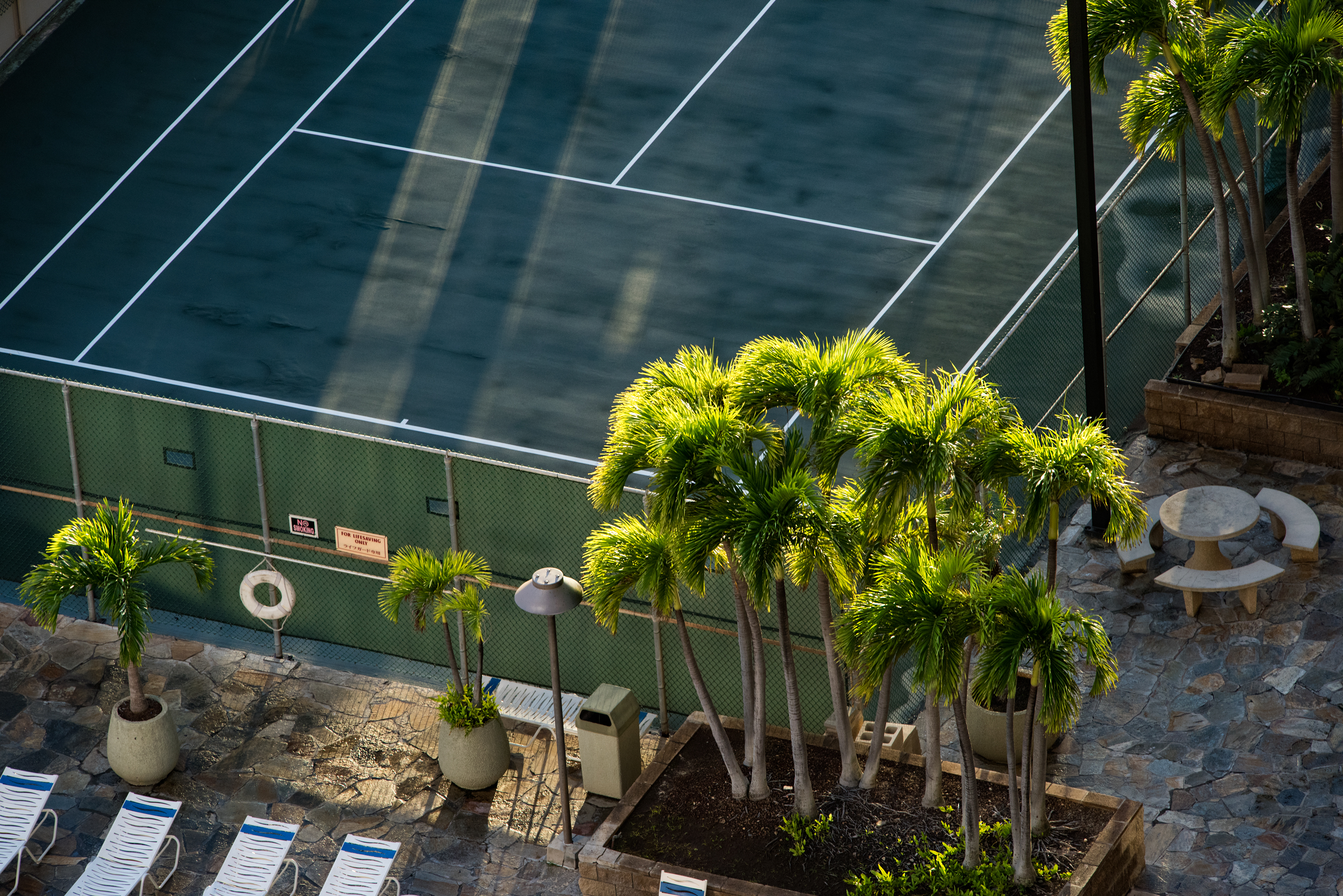 Tennis Court in Waikiki Sunset