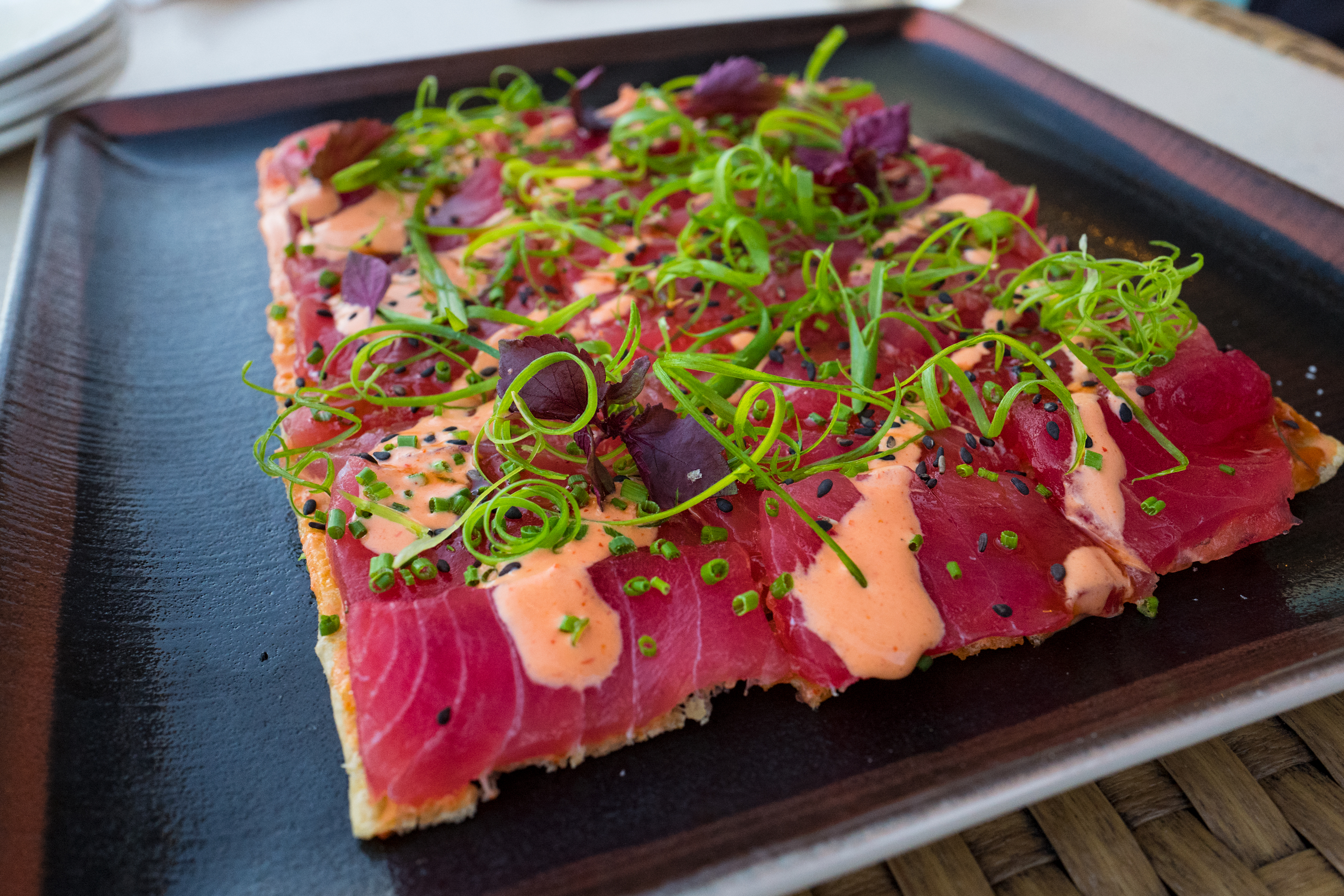 Spicy Tuna Sashimi Pizza
