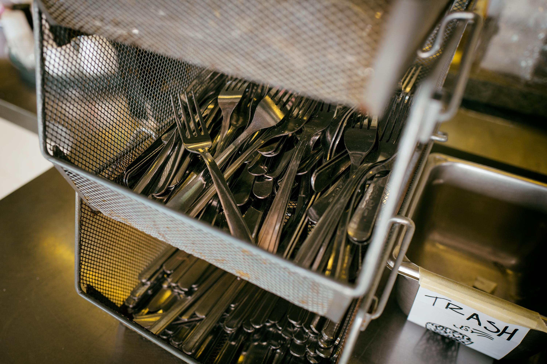 Forks and Trash Pan